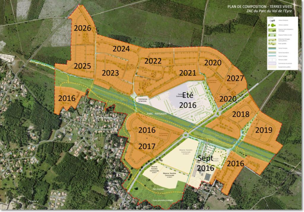 Plan de phasage de l'éco-domaine Terres Vives