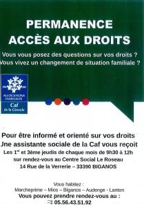 permanance accès aux droits CAF